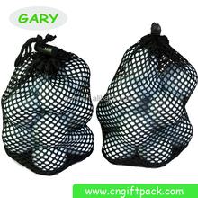 Black Nylon Mesh Golf Ball Holder Pouch Bag (10-12 balls)