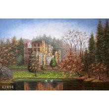 100% Handmade impressionist landscape art Italian Castle Lake Swans Fall Oil Painting