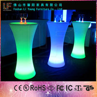 China PE High Level Materials Manufacture Durable And Beautiful Romantic LED Flashing Bar Counter Nightclub LED Cocktail Table