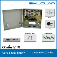 wholesale alibaba 4 channel 12v 3a 36w AC/DC cctv switching power supply with metal box