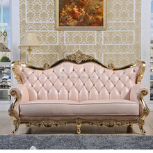 luxurious 2-seater cotton linen fabric french style neoclassic cheap baroque furniture with gold paper foil 3+2+1