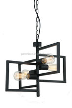 Pendant Light 4 Lights Industrial Pendant Lamp with Matte Black Iron Frame Lamp Fair E27