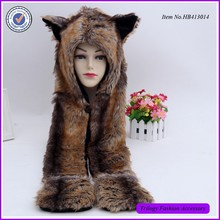 Full Animal Hood Hat Winter Warmer Cap 3 in 1 Function Red Wolf Spirit Hoods