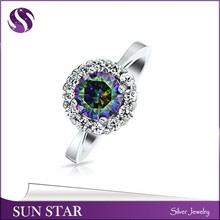 Inspired Round 925 Sun Silver emerald Bridesmaid Zircon Stone Ring