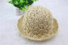 Wholesale girl kids hand made crochet straw hats H-10
