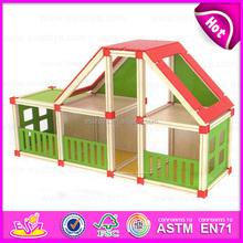 2015 nuevo juguete de madera casa de muñecas para los niños, niño de madera de montaje monta los casa de muñecas, DIY barbie casa de muñecas de juguete venta al por mayor W06A110