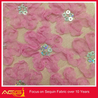 2014 ACG Wholesale african pink organza lace sequin metallic polyester hometextile fabric