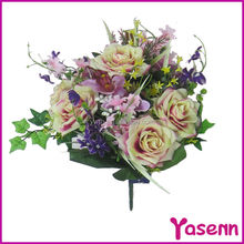 Delicate Pink plastic silk cloth artificial rose flower bouquet for wedding decoration flower stand centerpieces