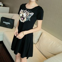 Casual Summer Pleated Dress Modal Lovely Printed Women Mini Dress Short Sleeve Candy Color Cute Cartoon Cat kitty dress