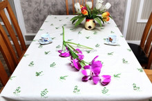 wholesale Printed promotional jacquard christmas design table cloth
