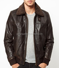Latest Mens Fashion Sheep Nappa Leather Jacket With Faux Fur Collar