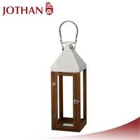 weeding pendant lighting Stainless steel handle brown wooden lantern