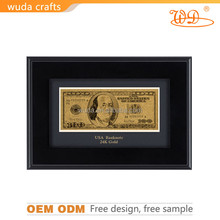 24k gold foil currency banknotes, Golden craft gold plated gift banknote business gift 100 $ gold plastic