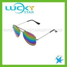 Sunglasses retro 2015 fashionable silver metal frame rainbow mirror lens sunglasses polarized aviator mirrored sunglasses