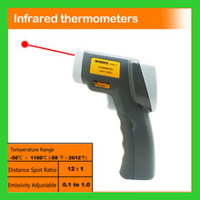 12:1 Non-contact Pyrometer -50~900 C -58~1652 F 0.1~1EM IR Infrared Thermometer