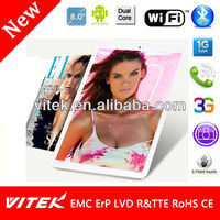 8 inch Android 3G Phablet RK3306 Dual Core Tablet