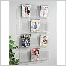 hot selling large quantity mounted acrylic brochure holder/ retail book display