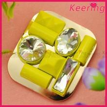 Fashion beautiful yellow glass decoration high heel shoe clips WSC-367