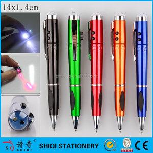 Promoción del OEM de colores de luz led pluma, pluma del laser