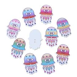 "Wood Sewing Button Scrapbooking Jellyfish At Random Two Holes 32.0mm(1 2/8"") x 22.0mm( 7/8""), 50 PCs"