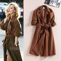 XL!Top Shop 2015 New Winter Coat Women Fashion Turn-down Collar Thicken Slim Long Style Wool Blends Coats With Belt Brand Design