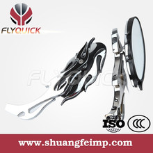 FLYQUICK High Quality BLACK CNC FLAME CUSTOM SIDE MIRRORS FOR HARLEY MOTORCYCLE CRUISER CHOPPER XL 883