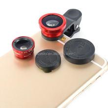 Five colors Universal Wide Angle +Macro+ Ojo De Pez 3 in 1 clip fisheye lens For iPhone 4 5 6 Samsung galaxy S4 S5 smartphone