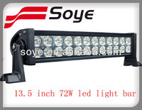 2013 new product 13.5 inch 24 pcs*3W off road led light bar 72W led motorcycle headlight Hot selling in china market
