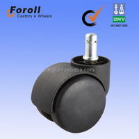 50mm china hooded furniture twin wheel chair casters manufacturer ISO 9001:2008