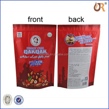 gold silk Kraft paper standup food bag with zipper and window rice paper bag