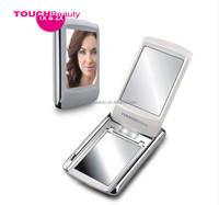 Wholesale New Fashion Black Mini Double Size Nursing Portable Sensor Light Folding personalized compact mirror For Girl Gift