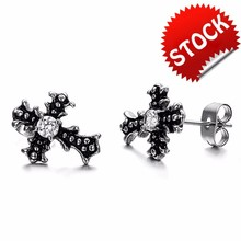 Wholesale Accessories Fashion Jewelry Cross CZ Diamond Titanium Stainless Steel Stud Earrings for Women and Men
