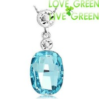 new arrival fashion brand bridal 18K white Gold plated Austrian crystal zircon square pendant necklace jewelry 80173