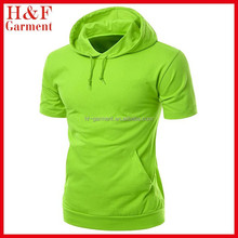 men's cotton t shirt with short sleeve and hood