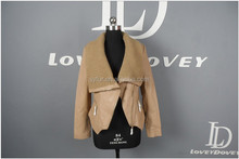 Europe style fashion women lamb sheepskin leather jackets and girl leather jacket and yarn collar coat with leather