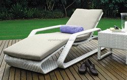2015 All weather wicker outdoor sun lounger rattan chaise sofa bed