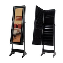 Over the Door Mirror with Jewelry Necklace Organizer