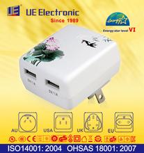 Dual USB quick charging mobile phone charger with EU UK UL SAA plug Energy Star Level VI
