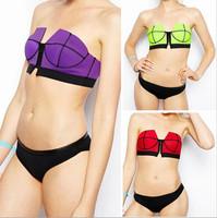 2015 New patchwork bikini women underwire bikini latest zipper bikini