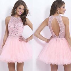 2015 Summer Formal Prom Dresses O-Neck Sleeveless Beaded pink Dresses