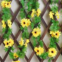 240cm Artificial Sunflower Silk Flowers Garland Vine Ivy Leaf Flower Craft Home Garden Decaration Wedding Decor