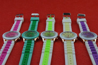 high quality Colored Geneva Silicone Rubber Jelly Gel Quartz Analog Sports Wrist Watch