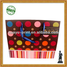 big circle dot handbags with ribbon /high quality paper bags/ shopping bags with ribbon