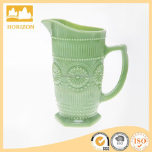 Hotsale jade colored glass sunflower pitcher
