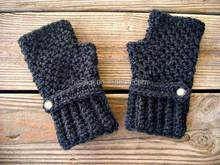 Womens Access-Crocheted Fingerless Gloves Mittens - Fingerless Gloves in Charcoal Heather Dark Grey Gloves