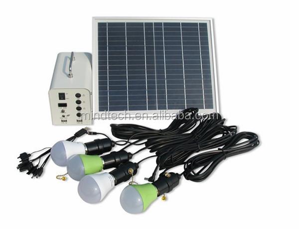 Hot vente 20 w panneau solaire avec 4 ampoules d 39 clairage for Eclairage solaire interieur