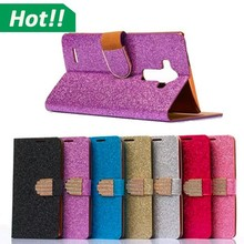 Hot Luxury Bling bling diamond wallet leather cover,for lg g4 leather cell phone case