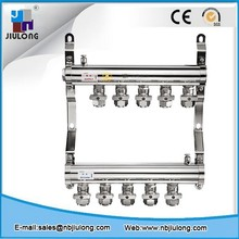 Stainless Steel heating manifold with Double Ball Valves for stainless steel underfloor heating system