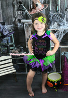 I have Daddy under my Spell Black Top Baby Girls Green Purple Petal Skirt NB-8Y
