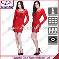 2014 nueva dama de la moda de vestir de color rojo con mangas largas ver- a través de vendaje vestido